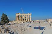 Tourists In Famous Old City Acropolis Parthenon Temple