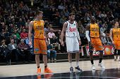 VALENCIA, SPAIN - FEBRUARY 15: 44 Harangody, 5 Rudy, 10 Sato during Spanish League match between Valencia Basket Club and Real Madrid at Fonteta Stadium on February 15, 2015 in Valencia, Spain