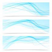 Modern Blue Wave Speed Line Banners Set