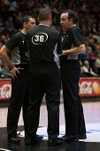 VALENCIA, SPAIN - FEBRUARY 15: Referee team during Spanish League match between Valencia Basket Club and Real Madrid at Fonteta Stadium on February 15, 2015 in Valencia, Spain
