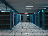 3D Computer Server in a Hi-Tech Room