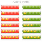 Rating Stars - 0 To 5 - Red And Green