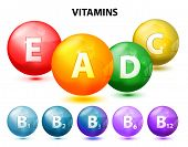 foto of letter b  - button with vitamins - JPG