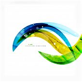 Green blue wave lines corporate business or eco background