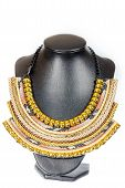 Vintage Fashion Antique Colorful Jewelry Necklace On Black Mannequin Mode