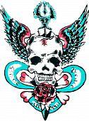 Skull wing rock tattoo