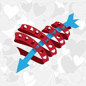 red heart shape ribbon with blue arrow