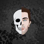 half face man skull