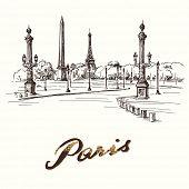 Place de la Concorde Paris - hand drawn illustration