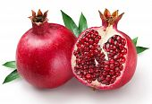 picture of pomegranate  - pomegranates and its half on a white background - JPG