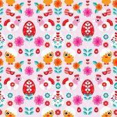 Seamless easter eggs chicken and spring blossom colorful illustration background pattern in vector
