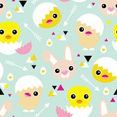 Seamless easter holiday illustration spring chick and bunny geometric arrow pastel background pattern in vector