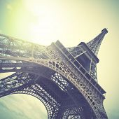 The Eiffel Tower.  Instagram style filtred image