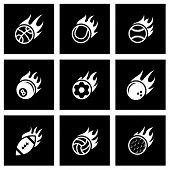 Vector black fire sport balls icon set