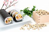 Seafood Rolled Sushi And Soy