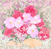 Bouquet Of Roses And Orchids With Mussels Vector