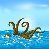 stock photo of kraken  - mythological kraken tentacles with the sea and sky - JPG