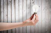 Hand holding light bulb against wooden planks