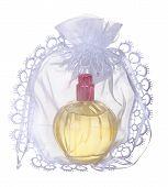 glass bottles of perfume isolated on  white background. Photography Studio.