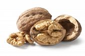stock photo of walnut  - walnut and a cracked walnut isolated on the white background with clipping path - JPG