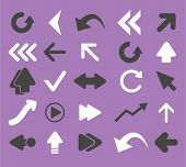 arrow, direction, navigation isolated flat icons, signs, symbols illustrations, images, silhouettes on background, vector