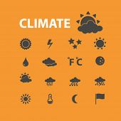 climate, weather, sun, cloud, temperature isolated flat icons, signs, symbols illustrations, images, silhouettes on background, vector