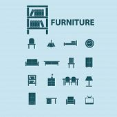 furniture, room, decoration, bed, sofa, chair, table, cupboard, bookshelf, light, tv, office, arm-chair isolated flat icons, signs, symbols illustrations, images, silhouettes on background, vector