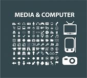 media, computer, camera isolated flat icons, signs, symbols illustrations, images, silhouettes on background, vector