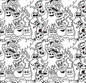 Funny monsters seamless vector pattern