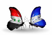 Two Butterflies With Flags On Wings As Symbol Of Relations Syria And Honduras