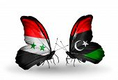 stock photo of libya  - Two butterflies with flags on wings as symbol of relations Syria and Libya - JPG