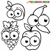 Coloring book fruit cartoon set apricot banana grape apple