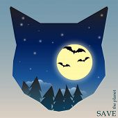 Night Forest With Bats And Moon In Silhouette Of Cat