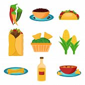 picture of mexican  - Set of cartoon mexican food for your design vector - JPG