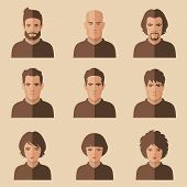 stock photo of human face  - vector flat people face - JPG