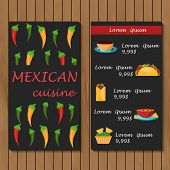 Template for menu or booklet with cartoon mexican food