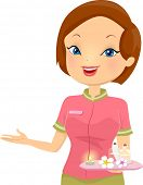 picture of clip-art staff  - Illustration of a Female Receptionist at a Spa - JPG