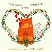 Where Is My Princess?- Bright Concept Card In Vector. Cute Fox In Flowers  Heart. Romantic Backgroun