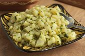 Traditional moroccan potato salad close up