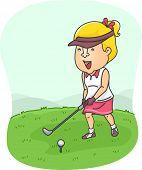 Illustration of a Female Golfer Preparing to Hit the Golf Ball