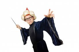 stock photo of wise  - Funny wise wizard isolated on the white - JPG