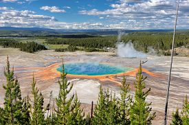 picture of nationalism  - The World Famous Grand Prismatic Spring in Yellowstone National Park - JPG