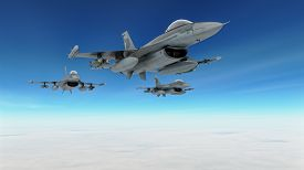 stock photo of aeroplan  - Fighters plane in combat mission - JPG
