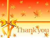 pic of thank you card  - autumn gift box design with maple leaves orange bow and thank you note - JPG