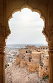 picture of rajasthani  - City and fort view from the window in City Palace museum of Jaisalmer Rajasthan India - JPG