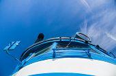 picture of locomotive  - Retro soviet locomotive train abstract closeup against blue cloudy sky - JPG