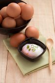 picture of boil  - boiled eggs for breakfast on wooden table - JPG