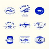 picture of fish  - Logo set for fish restaurant or bar with a picture of the fish - JPG