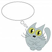 pic of kitty  - Cute cat and speech bubble for text - JPG