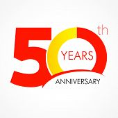 picture of 50th  - template logo 50th anniversary with a circle in the form of a graph and the number 5 - JPG